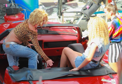 STUDIO CITY, CA - APRIL 10: Britney Spears and Iggy Azalea on the set of the new music video for the song, 'Pretty Girl' at car wash on Ventura Boulevard in Studio City, California on April 10, 2015. Credit: John Misa/MediaPunch