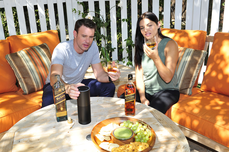 Scott Foley Enjoying a Johnnie Walker Whisky Tasting Using Amazon Alexa