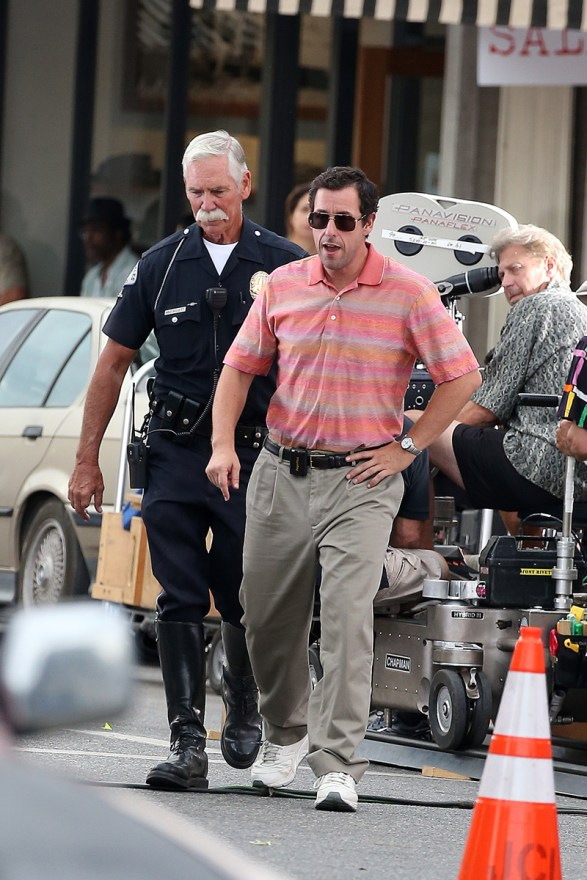 Adam Sandler filming in 90's outfit in Studio City, CA