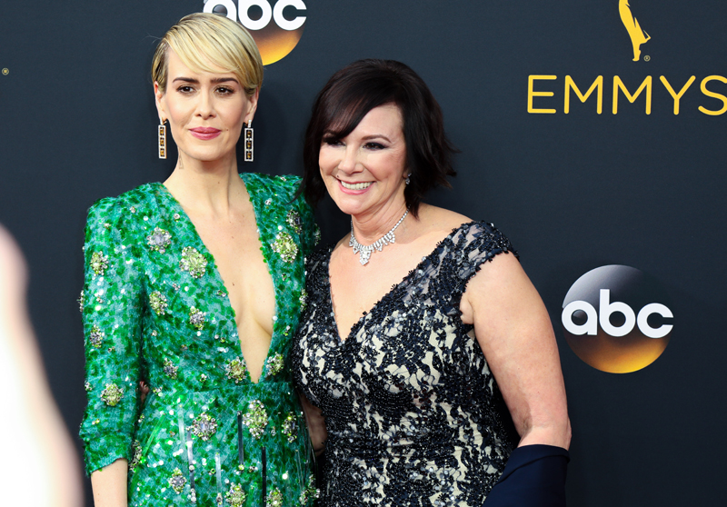Sarah Paulson and Marcia Clark attend the 68th Annual Primetime Emmy Awards at Microsoft Theater in Los Angeles, California