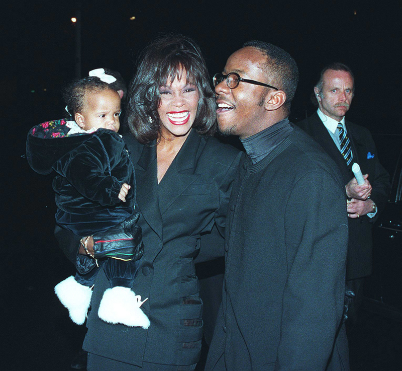 EXCLUSIVE: ** PREMIUM RATES APPLY ** Whitney Houston seen with her daughter Bobbi Kristina and Bobby Brown at Bobby's birthday at Tavern on Green in NYC on February 4, 1994