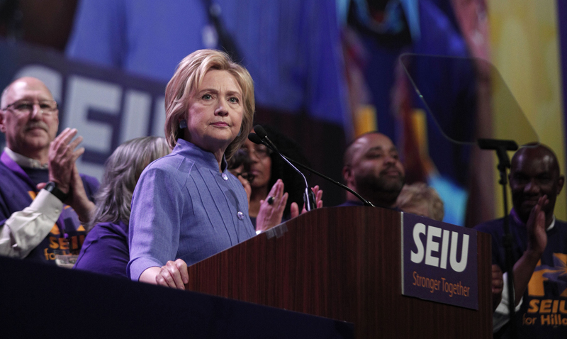 Democratic Presidential Candidate Hillary Clinton Speaks At SEIU International Convention In Detroit