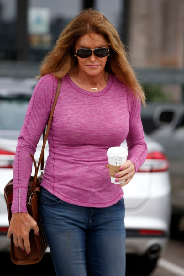 Caitlyn Jenner is seen in Malibu, CA picking up her morning coffee.
