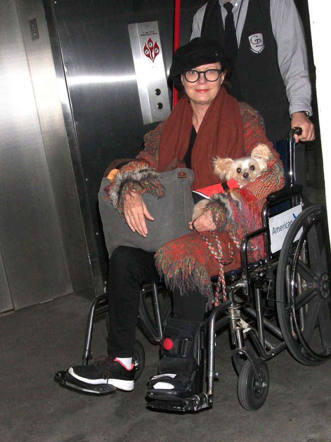 "EXCLUSIVE: Susan Sarandon spotted in a wheelchair and a foot cast as she's still nursing a ""little sprain"" she recently suffered. The iconic actress/activist is seen at LAX as she continues to protest the Dakota Pipeline."