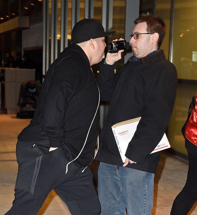 EXCLUSIVE: Rob Kardashian jokes around and gets close to videographer as he leaves town with Blac Chyna in NYC