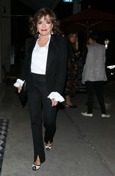 English actress Joan Collins goes to Craig's restaurant for dinner