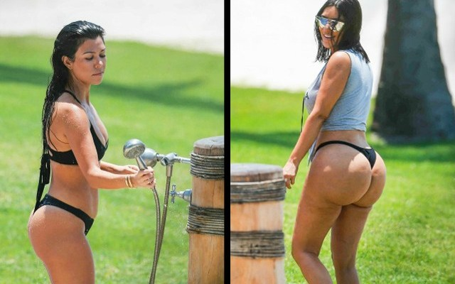 kardashian kim kourtney bikini pictures