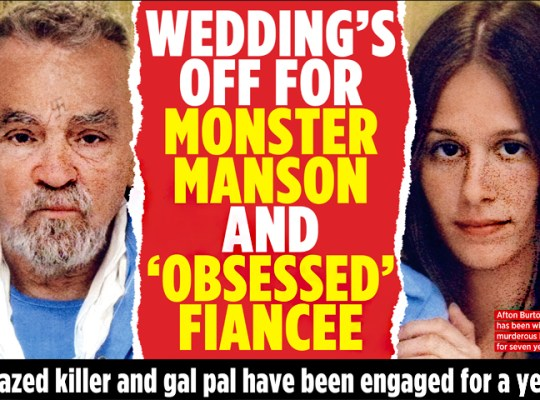 "THE WEDDING's OFF FOR CHARLES MANSON & ""OBSESSED"" FIANCEE thumbnail"