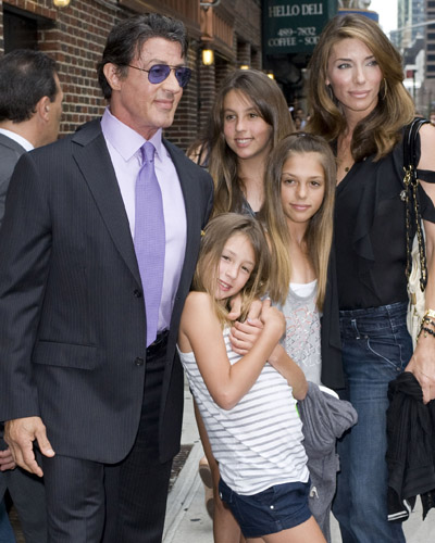 Sylvester Stallone with wife Jennifer Flavin and daughters Sophia, Sistine and Scarlet