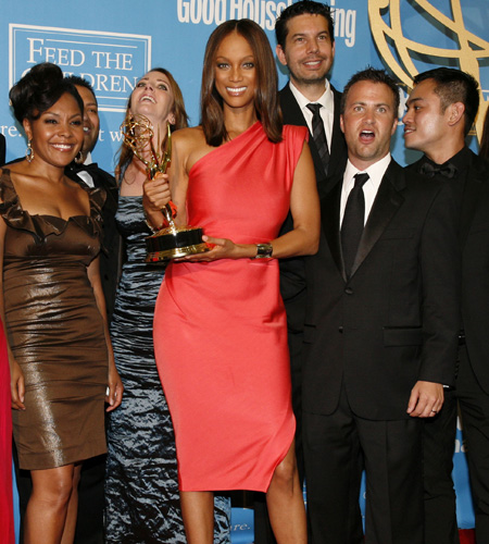 Tyra Banks and her crew accept the award for Outstanding Talk Show