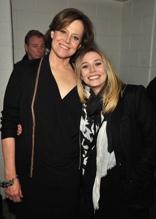 "Sigourney Weaver and Elizabeth Olsen at the ""Red Lights"" premiere."