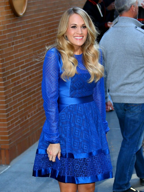 Carrie Underwood stuns in blue when departing The View in NYC