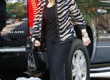 Joan Rivers wears a zebra printed jacket in New York City