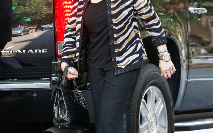 Joan Rivers wears a zebra printed jacket in New York City