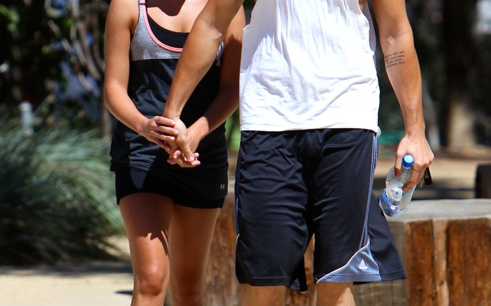 Lea Michele hiking with her boyfriend at TreePeople in Los Angeles at noon