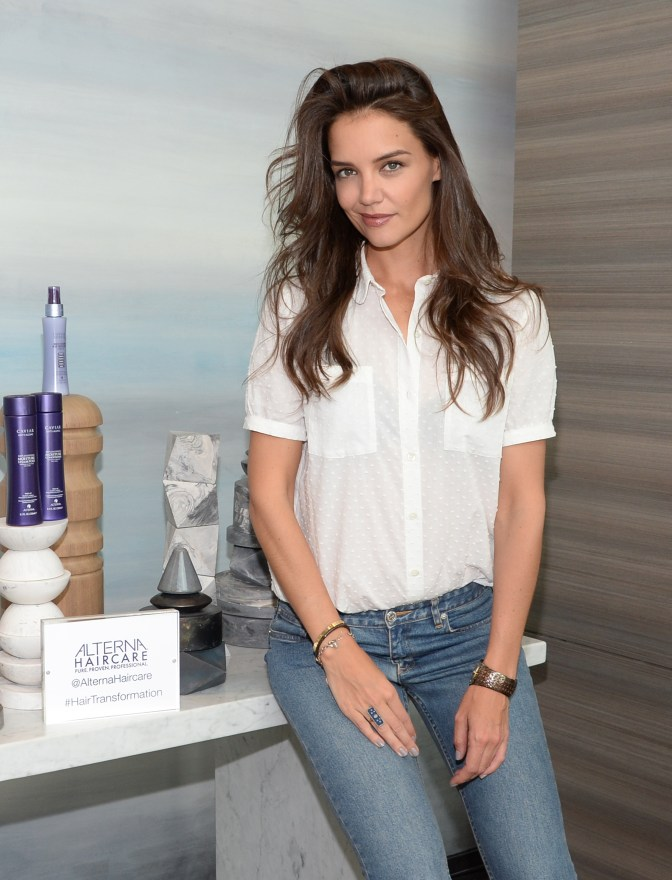 Katie Holmes celebrating the launch of Alterna Haircare`s Bamboo BeachCollection