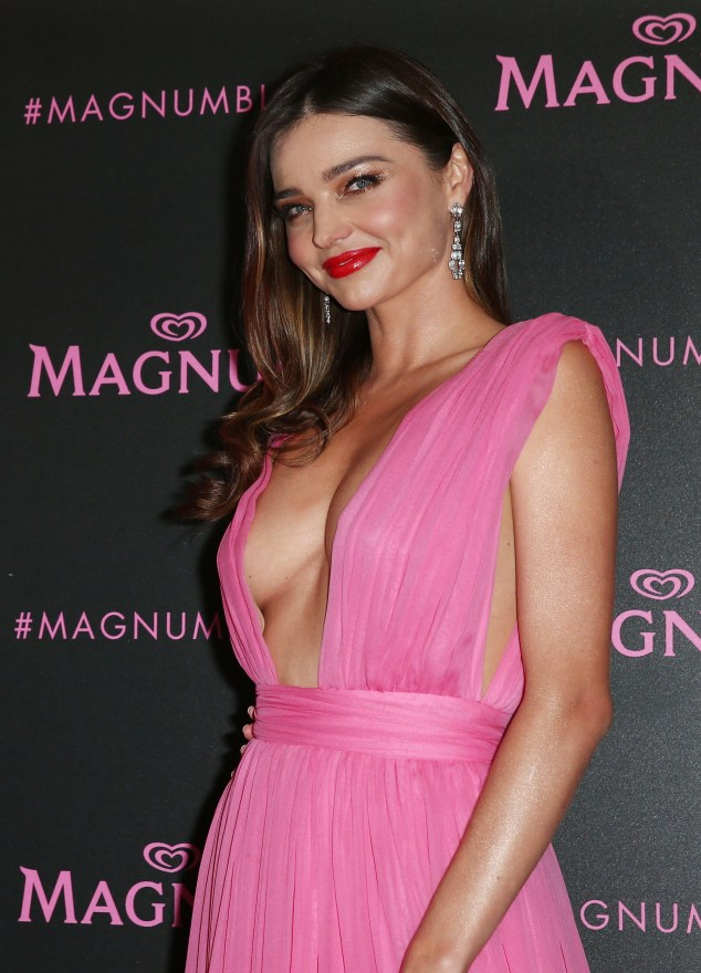 Miranda Kerr strikes a pose at the Magnum Party **USA ONLY**