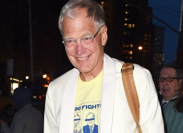 David Letterman leaving the Ed Sullivan Theater after his final show in NYC