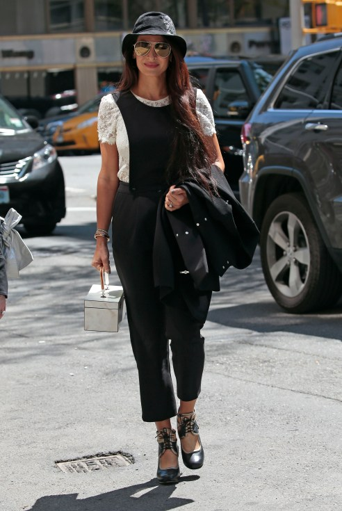 Tala Alamuddin seen carrying a box bag in New York City