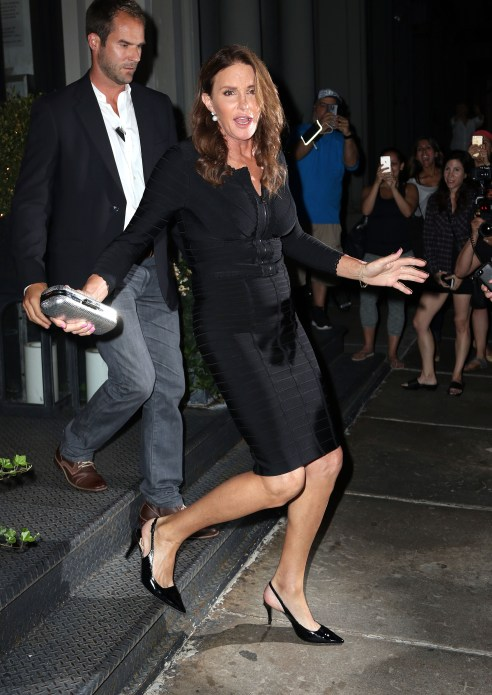 Caitlyn Jenner steps out in NYC in a black bondage dress with pointy black heels. (Photo: ACE/INFphoto.com)