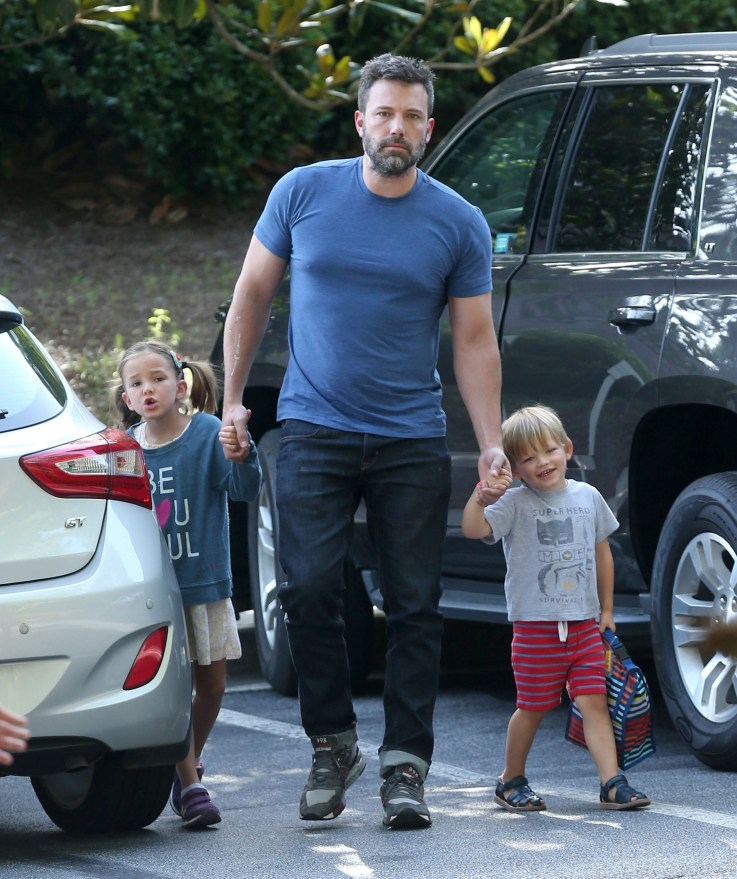 Semi-Exclusive... Ben Affleck Looks Upeat As He Steps Out With His Kids