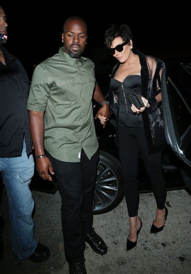 Kris Jenner And Corey Gamble arrive at Kylie's 18th Birthday Party at theNiceGuyClub