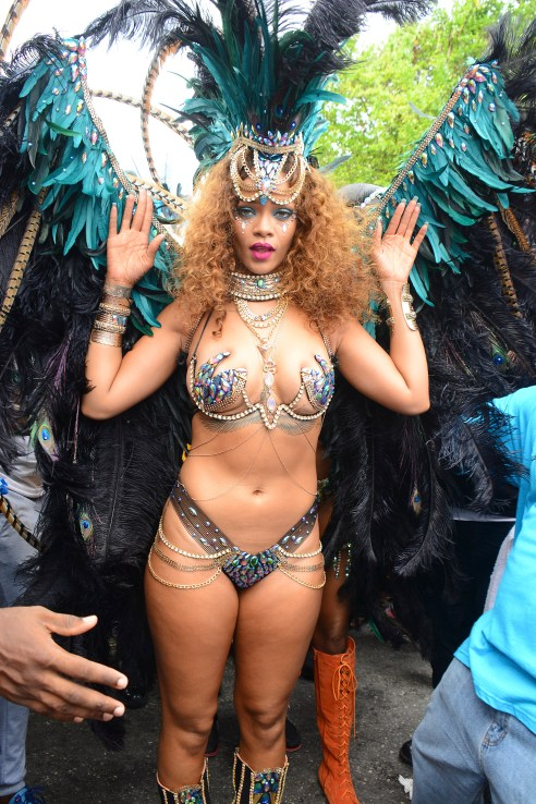 Rihanna jumping in Zulu International Band, Kadooment Day, Barbados.