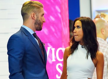 "Shawn Booth and Kaitlyn Bristowe show some PDA as they stoped by the ""Good Morning America"" yesterday in Times Square, NYC"