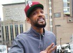 """Will Smith gives the peace sign and meets fans on set of """"Suicide Squad"""" in Toronto, Canada"""