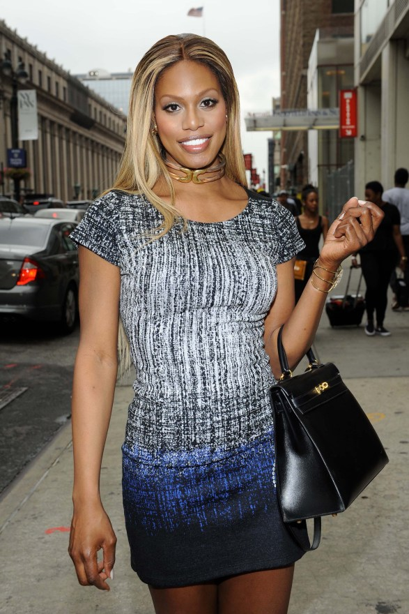 Laverne Cox arrives at the Desigual Spring 2016 Fashion Show