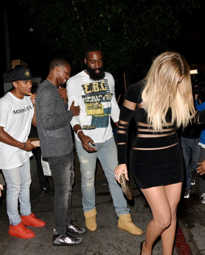 Khloe Kardashian and James Harden leave together out the back door at Kylie Jenner Party at Nice Guys in Beverly Hills
