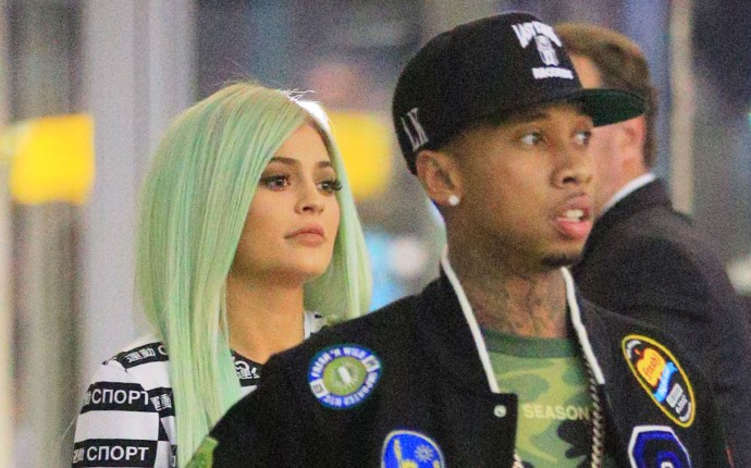 EXCLUSIVE: Kylie Jenner and Tyga walk together when departing NYC via JFK Airport