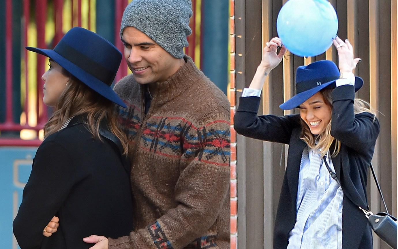 EXCLUSIVE: Jessica Alba gets bumped in the head with a ball while paying catch with her husband inBeverlyHills