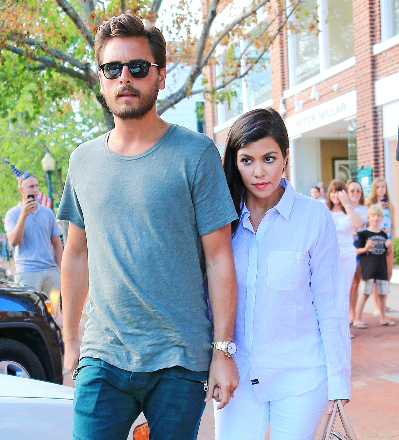Scott Disick and Kourtney Kardashian go for dinner at Southampton Historical Museum in Southampton, NY