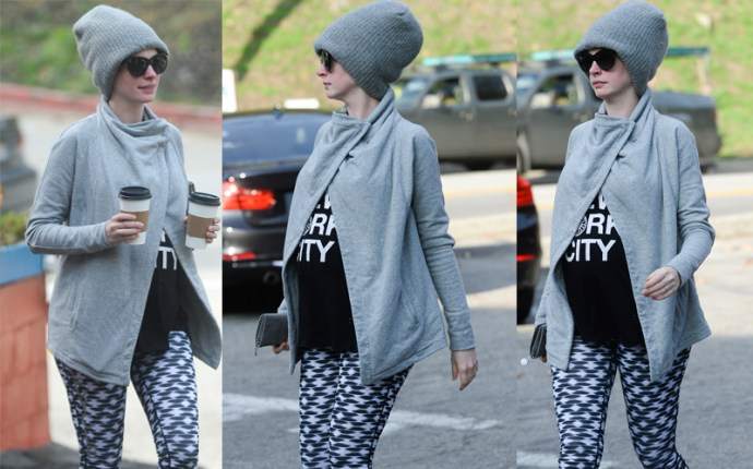 Anne hathaway pregnant shows baby bump during coffee run pp