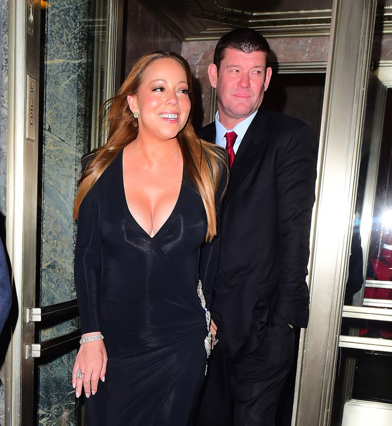 EXCLUSIVE: ***PREMIUM EXCLUSIVE RATES APPLY* *NO WEB UNTIL 1.30AM PST, JANUARY 23, 2016*** Newly-engaged Mariah Carey shows off her huge engagement ring as she steps out with James Packer inNewYorkCity