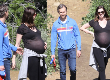 anne hathaway pregnant hike adam schulman sheer top pics