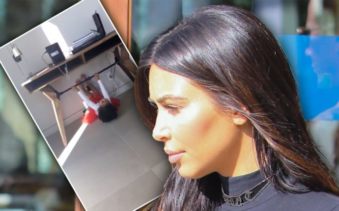 north west kim kardashian workout snapchat video