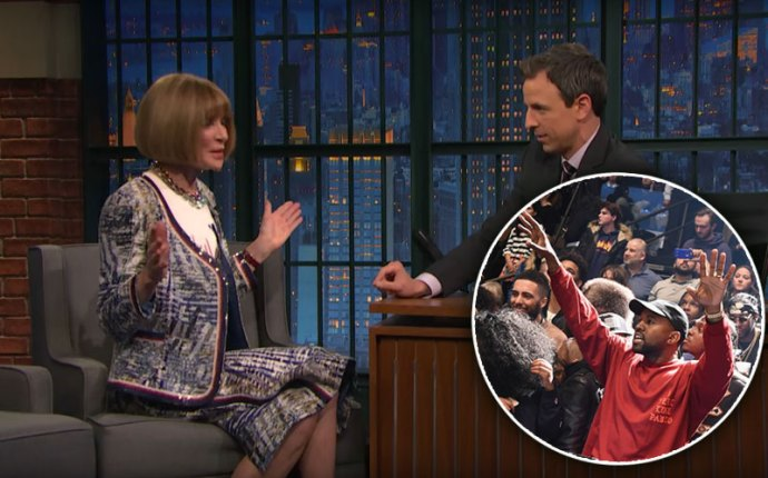 anna wintour kanye west yeezy fashion show late night seth meyers
