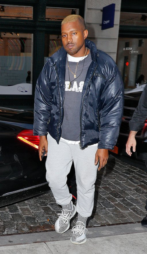 Kanye West looks healthy and relaxed as he is seen SoHo with bleached hair in New York.