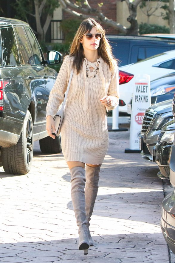 Alessandra Ambrosio's sexy sweater dress
