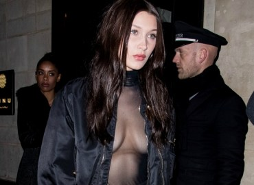 Bella hadid nipple boobs sheer shirt