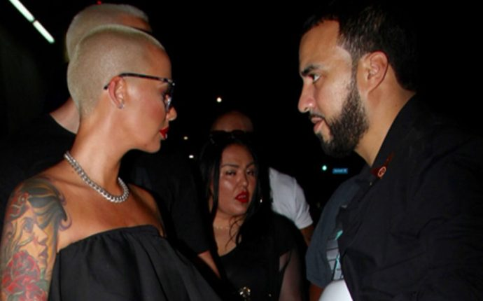 Amber Rose Wearing Black And Shades Leaving Club With French Montana