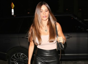 Sofia vergara nude shirt leather skirt