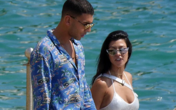 Kourtney Kardashian and Younes Bendjima seen at the Hotel du Cap Eden Roc in Antibes.