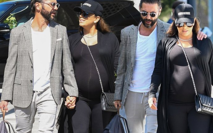 Eva longoria husband hold hands pregnant
