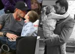 Tom brady david beckham kissing kids mouths harper
