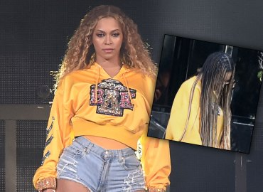 Beyoncé runs errands orange Sweatsuit braids photos