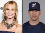 Meghan King Edmonds with a large necklace and Jim Edmonds in his Brewers uniform