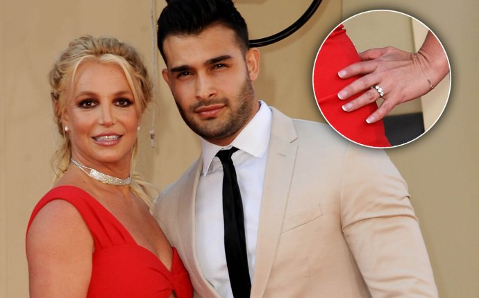 Britney Spears and Sam Asghari and a closeup of Britney's ring